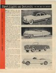 1952 ca. PACKARD Spotlight on Detroit as we go to press. The oft-rumored and long awaited sports Convertables are now in production, Pontiac, Cadillac and Buick Motor Trend page 10