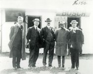 1909 IMS opening Day (L-R) Henry Ford Arthur C Newby Frank Wheeler Carl Fisher Jim Allison Source: IMS Collection C 89 No. 150