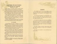 ca. 1909 HANDBOOK on the operation of MOTOR CARS and MOTOR BOATS Published by NATIONAL CARBON COMPANY pages 20 & 21
