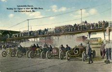 1911 Racing Old Orchard Beach ME signal to start postcard Front