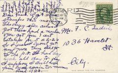 1914 12 10 Columbus OH race track postcard back
