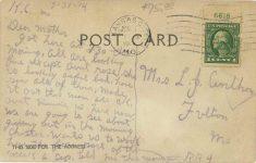 1914 6 1 Comic Ford race car postcard back