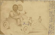 1914 6 1 Comic Ford race car postcard front