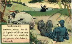 1914 ca Comic Reckless Driving postcard front