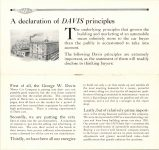 1915 DAVIS MOTOR CARS Brochure A Declaration of DAVIS principles pages 2 & 3