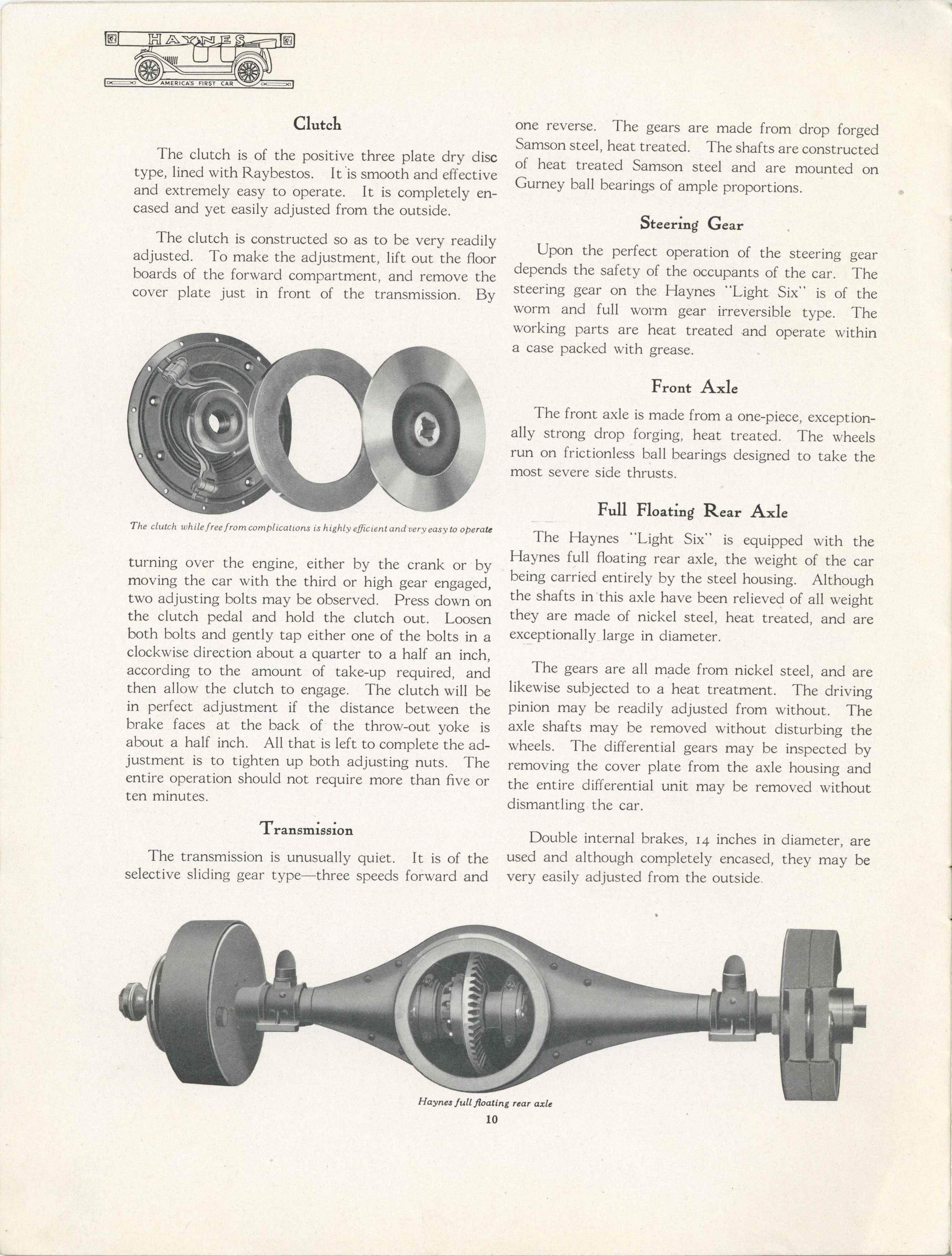 1915 THE HAYNES AMERICA'S FIRST CAR Clutch, Transmission, Steering