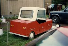 1993 ca. 1950s Electric 3 Wheeler Furnas Electric Co Batavia ILL snapshot 1993 Off Highway 61 Up North MN 1993 Back