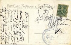 1908 8 3 postmark European racing postcard back
