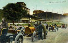 1908 8 3 postmark European racing postcard front
