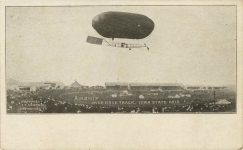 1909 ca AIRSHIP Over Race Track Iowa State Fair postcard front