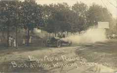 1910 Elgin Auto Races Buck driving Winning Marmon RPPC Front