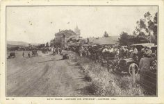 1910 ca Lakeside Inn Speedway CAL auto races postcard front