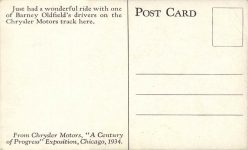 1934 Racing Barney Oldfield Chrysler postcard back
