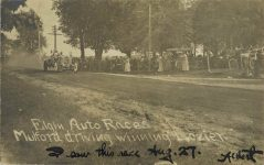 1910 8 27 Elgin Auto Races Mulford driving winning Lozier Elgin National RPPC Front