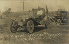 1910 Elgin Auto Races FB Wood Official Flagman RPPC front