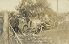 1911 Elgin Auto Races CINO John Raimey in 1st Accident at Hairpin Turn RPPC front 1
