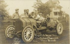 1911 Elgin Auto Races The National Team (Atkin, Zengel, Herr) and Their Mascot (Sidney) Webb Photos Lethin RPPC front