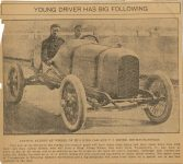 1914 KING Indy 500 KING driver Art Klein