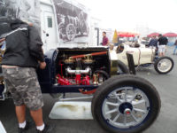 1912 Packard 30 Engine intake side and Jim HMSA Monterey Historics Mazda Raceway Laguna Seca, CAL August 2014