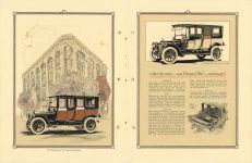 "1912 Packard MOTOR CARS The 1912 Packard ""Six"" Imperial Limousine and the Packard ""Six"" Limousine pictured. Specifications – 1912 – Packard ""Six"" Continued. 8″×11″ pages 16 & 17"