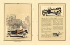 "1912 Packard MOTOR CARS The Packard ""Six"" Runabout and the Packard ""Six Closed Coupled pictured. Specifications – 1912 – Packard ""Six"" Continued. 8″×11″ pages 18 & 19"