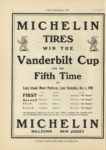 1910 10 5 NATIONAL MICHELIN TIRES WIN THE Vanderbilt Cup FOR THE Fifth Time THE HORSELESS AGE 9×12 page 16