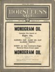 1911 8 30 NATIONAL MONOGRAM OIL Ellgin THE HORSELESS AGE Vol 28 No 9 9×12 Front cover