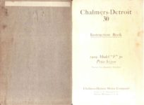 1909 Chalmers Detroit 30 Instruction Book 1909 Model F 30 Price 1500 Inside front page page 1