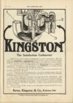 1910 10 5 KINGSTON The Satisfaction Carburetor Byrne, Kingston & Co. Kokomo, Indiana THE HORSELESS AGE October 5, 1910 9×12 page 3