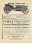 1910 9 28 EMPIRE TWENTY 950 EMPIRE MOTOR CAR COMPANY Indianapolis, Indiana THE HORSELESS AGE September 28, 1910 Vol. 26, No. 13 9×12 page 32