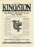 1913 4 10 KINGSTON KINGSTON New Model Y Will Handle Grocery Store Gasoline Byrne, Kingston & Co. Kokomo, Indiana THE AUTOMOBILE April 10, 1913 page 100