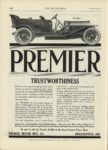 1909 12 23 PREMIER TRUSTWORTHINESS Premier Motor Mfg. Co. Indianapolis, Indiana THE AUTOMOBILE December 23, 1909 9″x12″ page 136