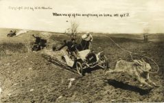 1909 When we go after anything in Iowa We get it RPPC Exaggeration front