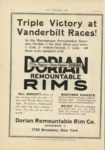 1910 10 5 DORIAN REMOUNTABLE RIMS Triple Victory at Vanderbilt Races THE HORSELESS AGE 9×12 page 24