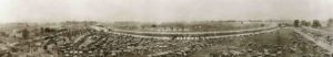 1911 5 30 Indy 500 BIRDSEYE VIEW OF INDIANAPOLIS MOTOR SPEEDWAY DURING 500 MILE RACE MAY 30 1911 CIRKUT PHOTO BY CF BRETZMAN INDPLS panoramic photograph