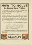 """1911 8 24 KLAXON Horns HOW TO SOLVE """"The Public Safety Signal"""" Lovell-McConnell Mfg Company Newark, New Jersey MOTOR AGE Aug. 24, 1911 8.5""""x12"""" page 51"""