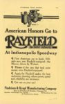 1913 ca RAYFIELD At Indianapolis Speedway AUTOMOBILE TRADE JOURNAL page 116G