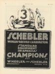 1915 5 13 SCHEBLER WORLDS RECORD CARBURETOR STANDARD EQUIPMENT ON AMERICA'S CHAMPIONS Wheeler-Schebler Indianapolis, Indiana MOTOR AGE 8.5″×11.75″ page 44