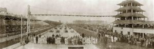1915 5 31 Indy 500 THE LINE UP OF DRIVERS AND MECHANICIANS INDIANAPOLIS MOTOR SPEEDWAY MAY 31 15 LOSEY OFFICIAL PHOTOGRAPHER 539 N MER INDIANAPOLIS panoramic photograph