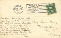 1915 Columbian Exposition Ruckstell and Buicksell MERCER BOLAND RPPC back