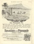 "1916 10 21 HAWAIIAN PINEAPPLE Eat Pineapple Pie ASSOCIATION OF HAWAIIAN PINEAPPLE PACKERS Chicago, ILL THE SATURDAY EVENING POST October 21, 1916 10.75""x14"" page 39"