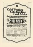 1917 1 4 SCHEBLER Cold Weather Cold Gasoline Cold Motor Wheeler-Schebler Carburetor Co., Inc. Indianapolis, Indiana MOTOR AGE Jan 4 1917 8×12 page 116