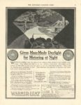 "1917 7 22 WARNER-LENZ Lights Gives Man-Made Daylight For Motoring at Night THE WARNER-LENZ COMPANY Chicago, ILL THE SATURDAY EVENING POST July 22, 1916 11""x14"" page 60"