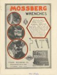 "1920 5 26 MOSSBERG Wrenches WRENCHSMITHS FOR 20 YEARS FRANK MOSSBERG CO. Attleboro, MASS MOTOR WORLD May 26, 1920 8.75""x11.5"" Inside back cover"