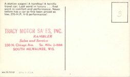 1959 AMBASSADOR Custom Hardtop Cross Country postcard AM 59 7019K back