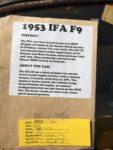 2017 8 18 1953 IFA F9 automobile sign HMSA Monterey Historics Mazda Raceway Laguna Seca, CAL