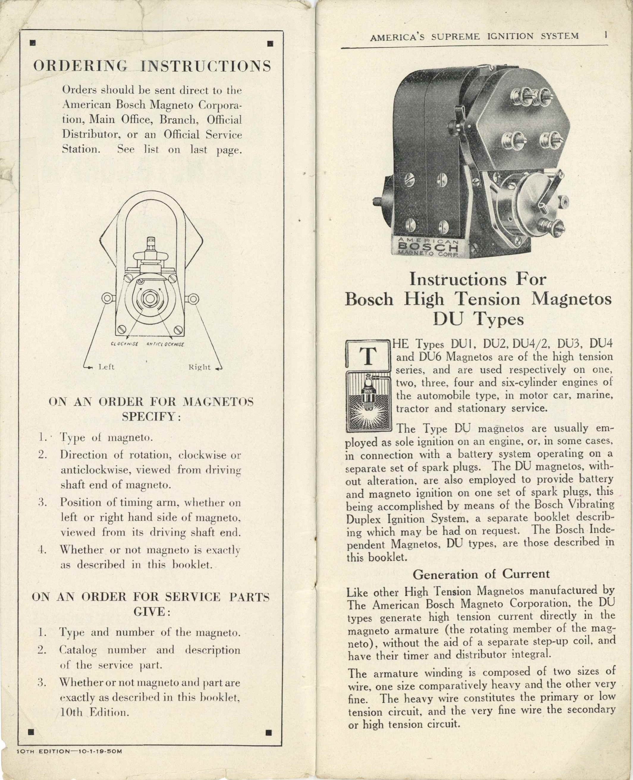 1919 american bosch magnet corp'n type du magneto for gasoline     on