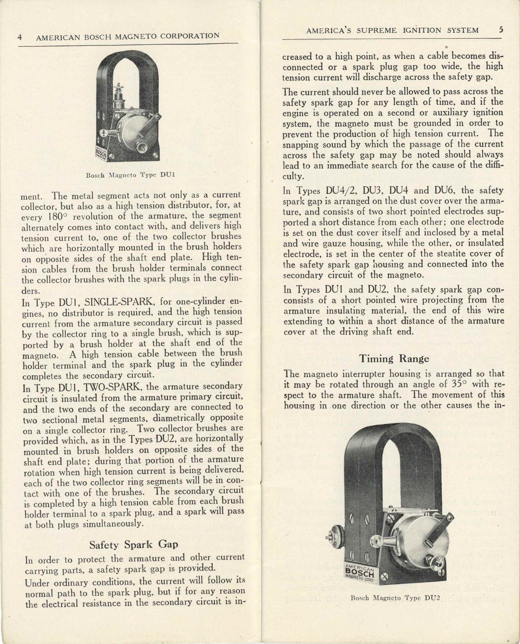 1919 AMERICAN BOSCH MAGNET CORP'N TYPE DU MAGNETO for GASOLINE