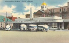 GREYHOUND BUS STATION JACKSON TENNESSEE linen postcard front