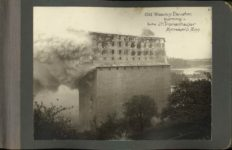 Old Wooden Elevator burning Built by JH Tromanhauser Minneapolis Minn page 1